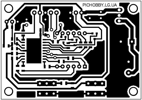 Плата печатная термометра на PIC16F628A(вид снизу)