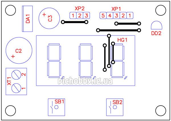 Плата печатная термометра на PIC16F628A(вид сверху)