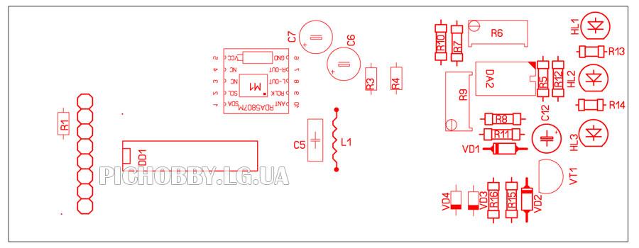 Печатная плата приёмника на RDA5807