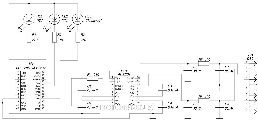Принципиальная схема переходника USB-COM(RS232)