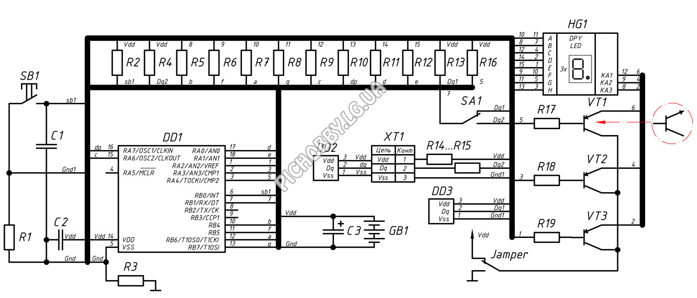 Принципиальная схема термометра на PIC16F628A