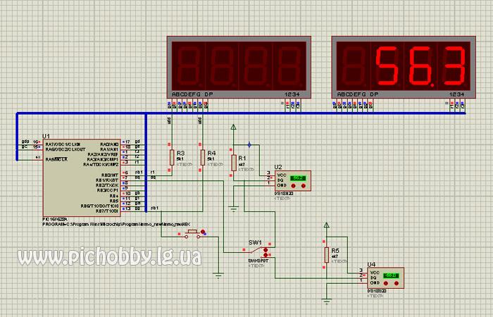 Упрощенная модель термометра на PIC16F628A