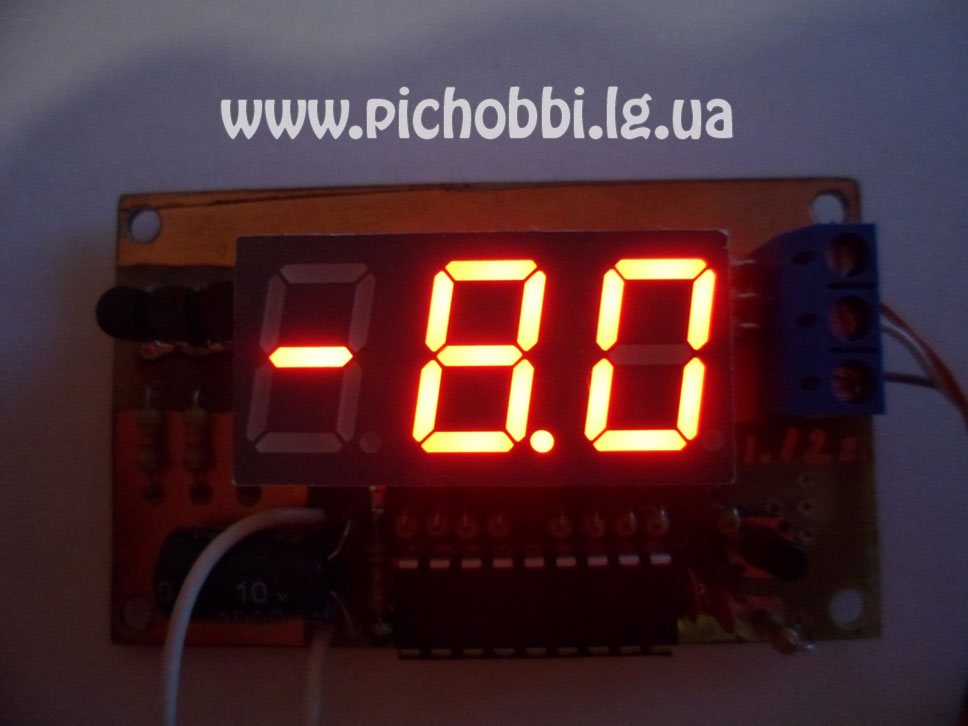 Внешний вид термометра на микроконтроллере PIC16F628A