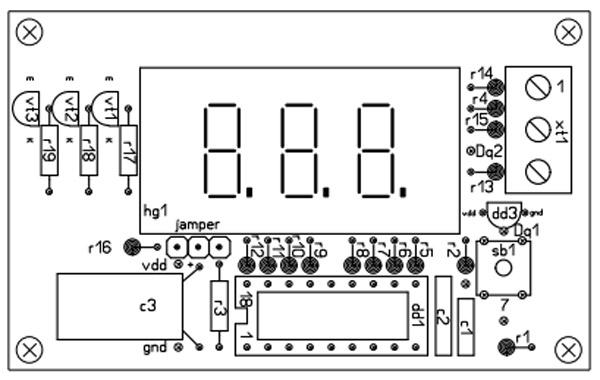 Печатная плата термометра на микроконтроллере PIC16F628A(верх)